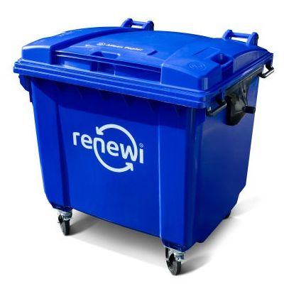 Papier/ karton container 1000 liter lediging op afroep