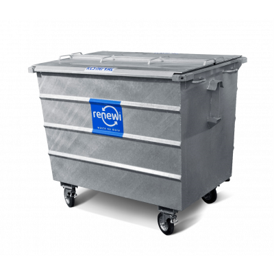 Bedrijfsafval rolcontainer | 1600 liter