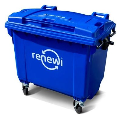 Papier/ karton container 660 liter lediging op afroep