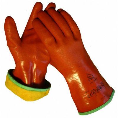 Handschoen cama-iso PVC rood 30cm -gevoerd