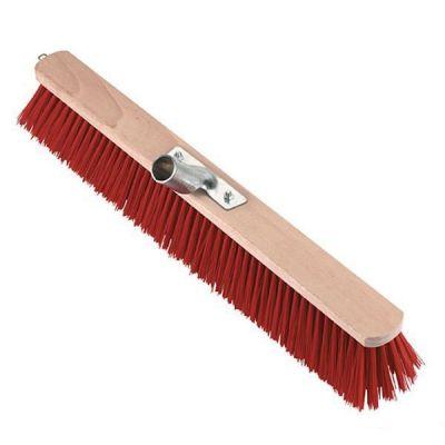 Bezem 100cm, nylon rood, verstevigd