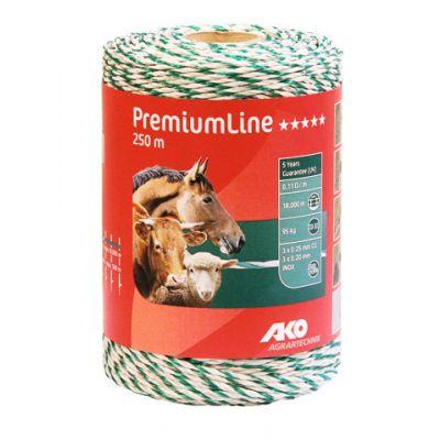 AKO PremiumLine schrikdraad wit/groen 3RVS/3koper, 250 m.