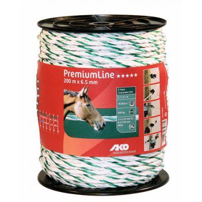 AKO PremiumLine schrikkoord wit/groen 6,5mm. 200 m.