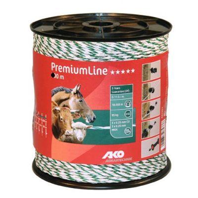AKO PremiumLine schrikdraad wit/groen 6RVS/3koper, 1000m