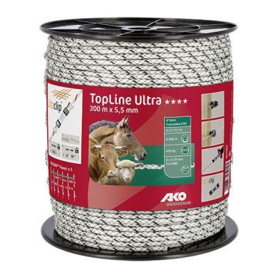 AKO TopLine Ultra schrikkoord wit/zwart 5.5 mm 300 m