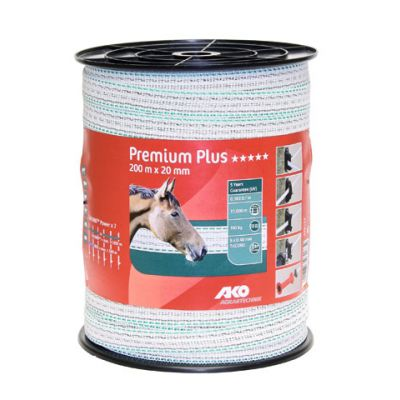 AKO Premium Plus schriklint wit/groen 2cm-200m
