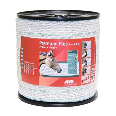 AKO Premium Plus schriklint wit/groen 4cm-200m