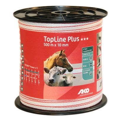 AKO TopLine Plus schriklint wit/rood 1cm-500m