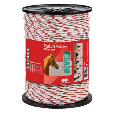 AKO TopLine Plus schrikkoord wit/rood 6mm-400m TriCOND