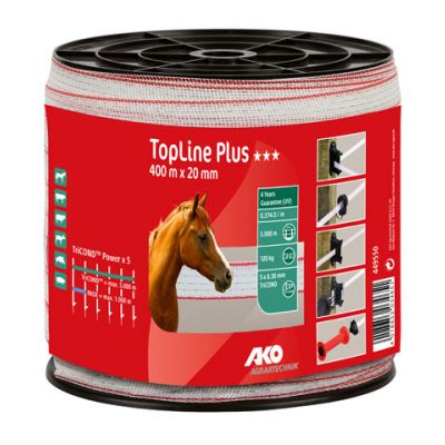 AKO TopLine Plus schriklint wit/rood 2cm-400m