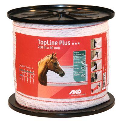 AKO TopLine Plus schriklint wit/rood 4cm-200m