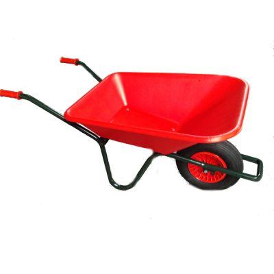 Tuinkruiwagen PP bak 90L, gel.onderstel -Rood