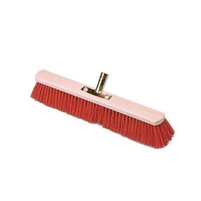 Bezem 80cm, nylon rood, verstevigd