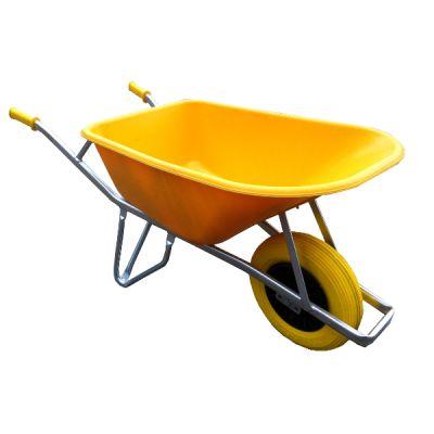 Kruiwagen Fort, 100L, -straatmakers- geel +NooitMeerLek wiel