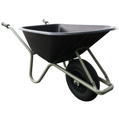 Kruiwagen Allrounder 100L PP bak zwart, grijs onderstel
