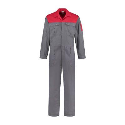 Overall grijs/rood katoen